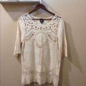Bobeau Soft Linen Like Crochet Tunic Blouse